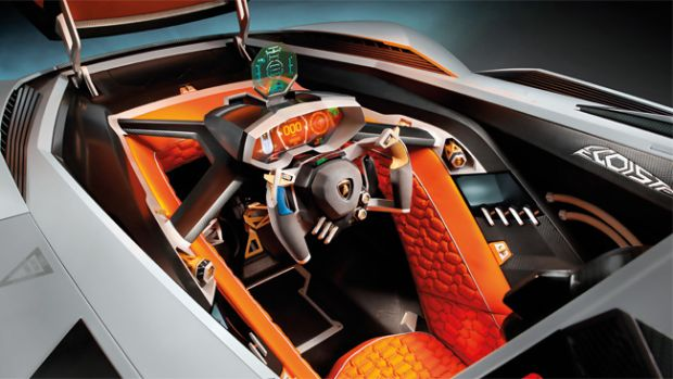 "O ""cockpit"" da Lamborghini Egoista, mistura de caça e F1"
