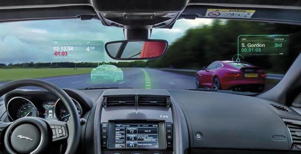 Conceito da Jaguar de parabrisas com tela virtual para automóveis