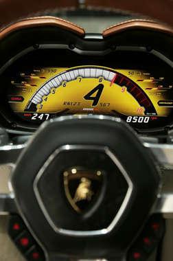 Detalhe do painel do concept car Lamborghini Asterion