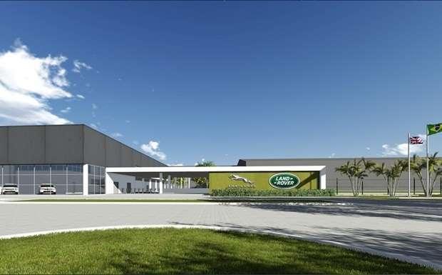 Ilustração de como deverá ficar a fachada da fábrica da Jaguar Land Rover em Itatiaia