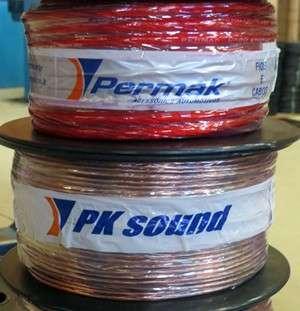 Bobinas de cabos para som automotivo das duas marcas fabricadas pela Permak