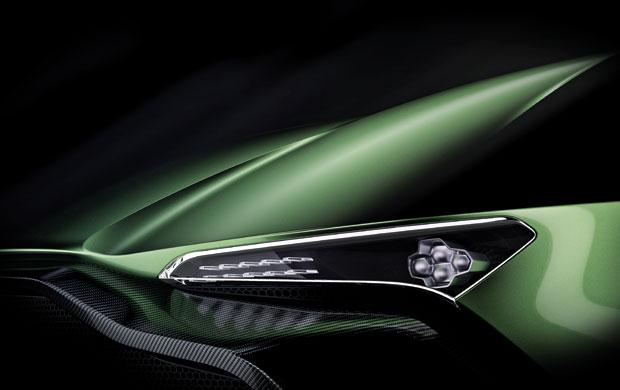 Detalhe do farol do Aston Martin Vulcan