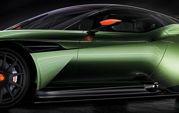 Detalhe da lateral do Aston Martin Vulcan