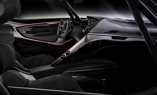 Detalhe do cockpit do Aston Martin Vulcan