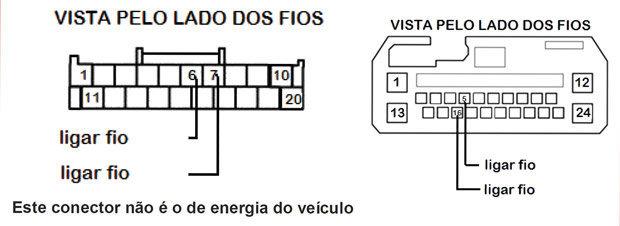 Instalação de acessórios - Esquema de ligação de comando de volante