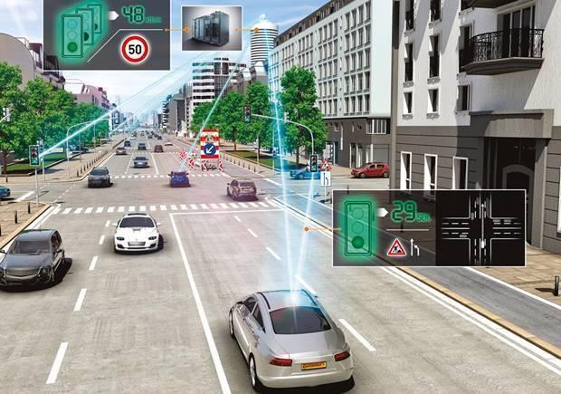 O veículo interativo interage com as vias e a sinalização