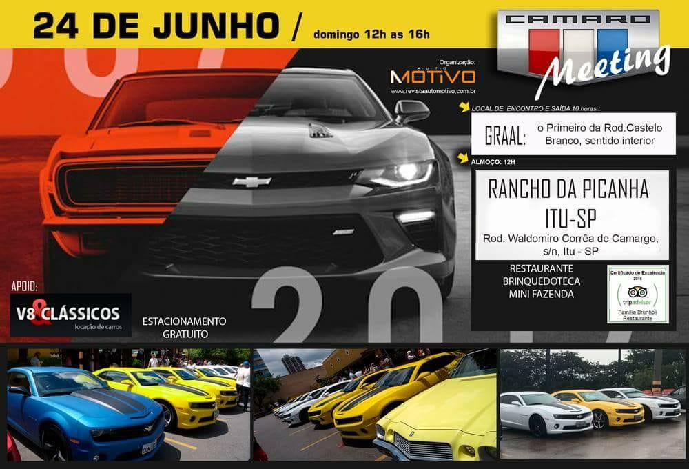 Camaro Meeting acontecerá no próximo domingo, dia 24/06
