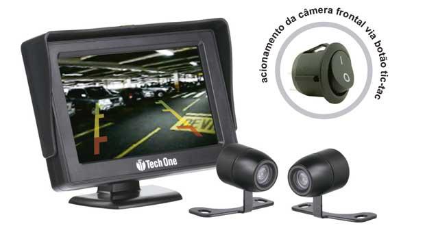 Kit Monitor e Câmera de ré frontal borboleta, da Tech One