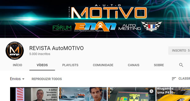 Canal da AutoMOTIVO no YouTube chega a 5 mil inscritos!